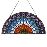 Bieye W10034 Peacock Tiffany Style Stained Glass Half Round Window Panel Hangings with Chain, 36 inches Wide