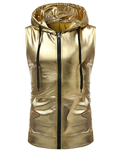 ZEROYAA Mens Hipster Metallic Zip Up Sleeveless Hooded Vest T Shirt with Kangaroo Pocket Z86 Gold XX-Large