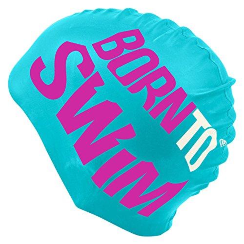 BornToSwim Jugendliche und Erwachsene Badekappe aus Silikon Schwimmkappe Mit Hai Motive, Türkis/Lila/Weiß, One Size