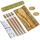 Niaguoji Juego de 11 alfombrillas de bambú para sushi con bolsa que incluye 2 alfombrillas, 4 pares de palillos, 1 paleta de arroz, 1 esparcidor de arroz, 2 platos para salsa