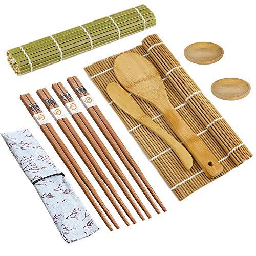 Niaguoji Juego de 11 alfombrillas de bambú para sushi con
