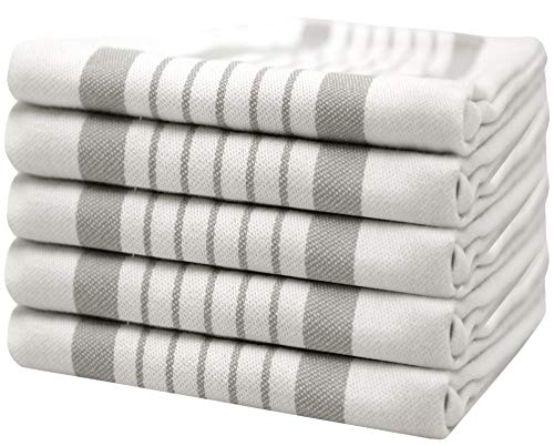 """Bumble Towels 5er Pack Set Küchenhandtücher Gestreift / 20"""" x 28""""/ 50 x 70 cm/Weich & Saugfähig / 100% ringgesponnene Baumwolle/Luxus Geschirrhandtücher (Grau)"""