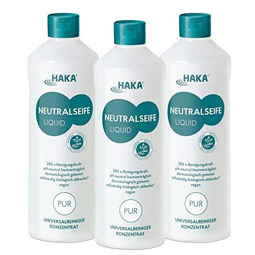 HAKA Neutralseife Flüssig Original I 3x1 Liter Neutralreiniger I Universalreiniger für Haushalt und Auto I PH-neutrales Reinigungsmittel I Biologisch abbaubar
