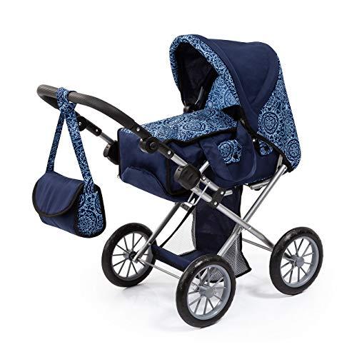 Bayer Design 13603AA City Star Design, combi poppenwagen, met uitneembare draagtas en schoudertas, in hoogte verstelbaar, voor poppen tot 46 cm, blauw, modern patroon