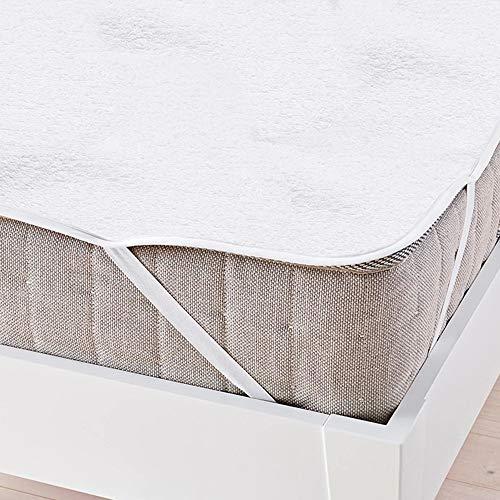 wolketon Wasserdichter Matratzenschoner, 140 x 200 cm Hygienische und Atmungsaktive Matratzenauflage, Baumwolle, Anti-allergisch, gegen Milben, Weiß