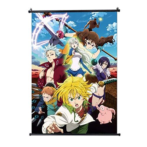Póster de Barney con diseño de anime Nanatsu no Taizai Los siete pecados mortales, para decoración del hogar, póster de pergamino de pared, para cosplay, tela, 20 x 30 cm., Small