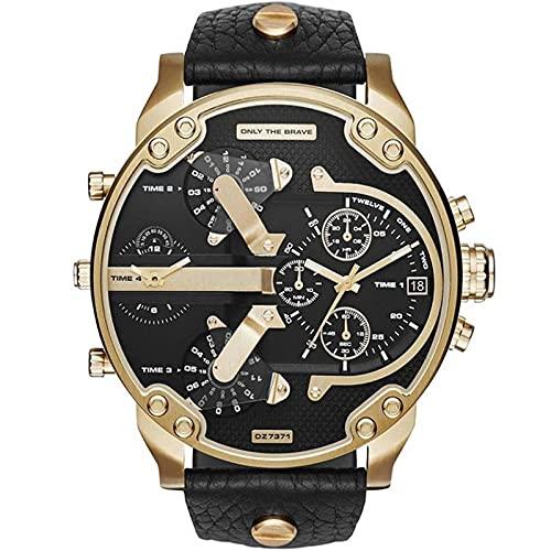 Relojes Relojes para Hombre, Reloj Deportivo De Cuero De Lujo, Reloj Negro, Esfera Grande, Hora Clásica, Reloj Vintage, Reloj De Pulsera Digital Militar para Hombre, Oro Negro