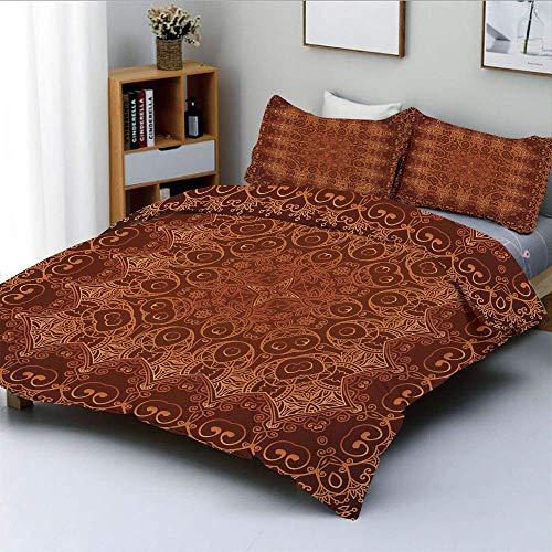 Juego de funda nórdica, patrón árabe persa de encaje vintage del estilo de la alfombra del palacio del imperio otomano Artprint decorativoJuego de ropa de cama de 3 piezas con 2 fundas de almohada, ma