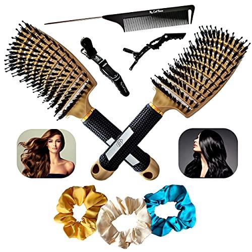 ✅KIT COIFFURE PROFESSIONNEL 8 pièces - 2 Brosses démêlantes poils de sanglier naturel, 1 peigne à queue, 2 pinces, 3 chouchous satinés, pour la famille, tous types cheveux (fins, épais, bouclés, afro)