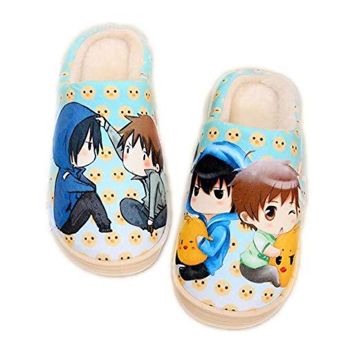 CAISHEND Hombres para Mujer Lindas Zapatillas de japón Anime Grave Robo q Invierno calzo cálido Zapatos al Aire Libre Acogedor no resbalón Mulas Zapatillas,38/40 EU