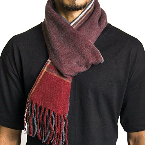 Alpine Swiss Mens Plaid Scarf Soft Winter Scarves Unisex,Maroon Plaid,One Size
