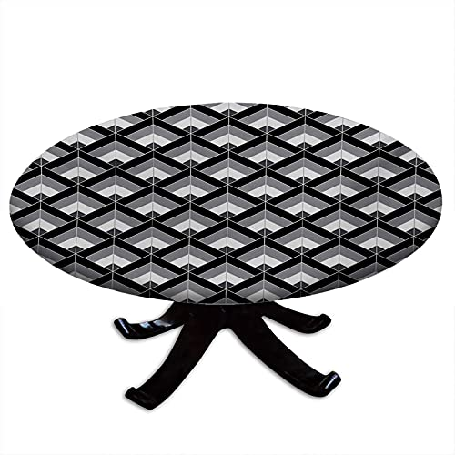 Grey and Black Round Tablecloth with Elastic Edges, Bohemian Pattern with Triangles Vertical Lines Repeating Motifs Water and Oil Repellent, Fits Tables 31' - 35' Diameter Grey Black Pale Grey