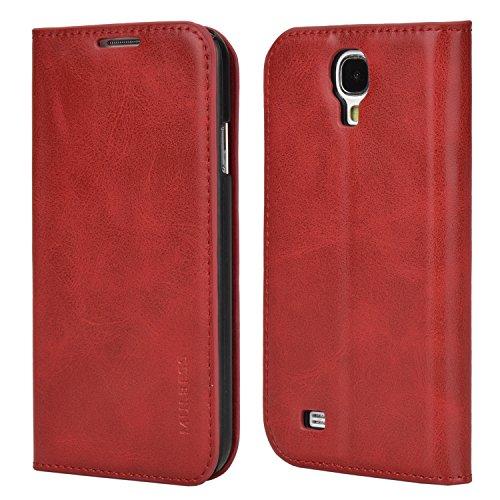 Mulbess Funda Samsung Galaxy S4 [Libro Caso Cubierta] Slim de Billetera Cuero Carcasa para Samsung Galaxy S4 Case, Vino Rojo