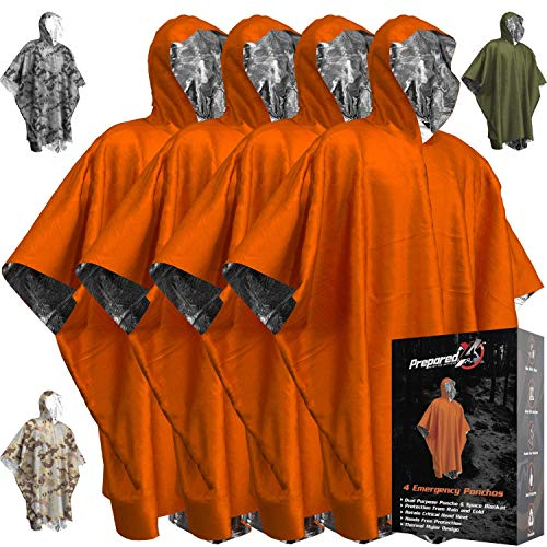Emergency Blankets & Rain Poncho Hybrid Survival Gear and Equipment – Tough, Waterproof Camping Gear Outdoor Blanket – Retains 90% of Heat + Reflective Side for Increased Visibility – 4 Pack (Orange)