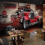Hhkkckカスタム3D壁紙レトロな赤い車の写真の壁の壁画レストランカフェバーKtvリビングルームの背景の壁の装飾3 D-120X100Cm
