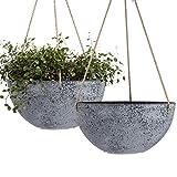 Hanging Planters for Indoor Plants - 10 Inch Flower Pots Outdoor Garden Planters Pots, Rock Grey, Set of 2
