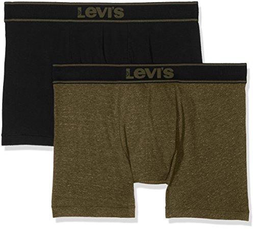 Levi's Herren Levis 200SF Vintage Heather Boxer Brief 2P Shorts, Mehrfarbig (Olive Green/Black 574), Small (2er Pack)