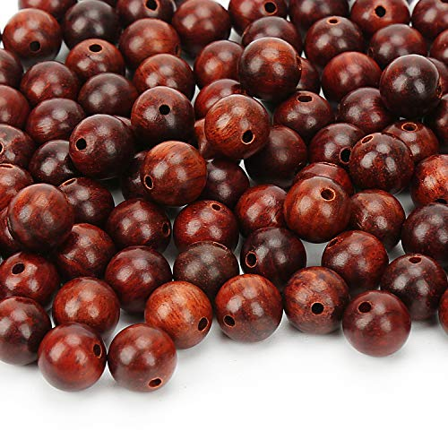 Prometis 200pcs 8mm Natural Sandalwood Round Beads Gorgeous Craft Handmade Polished Spacer Beads with Elastic Cord for Bracelets DIY Jewelry Making
