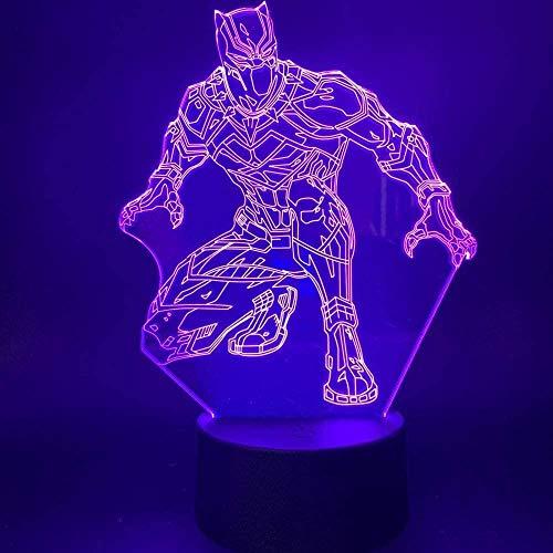 Luz de la noche Hermosas y exquisitas luces nocturnas 3D coloridas, luces nocturnas Led coloridas, milagro, superhéroe, figura de acción de pantera negra, oficina ro