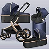 YQLWX 3 en 1 carruaje de cochecito plegable, cochecito de aleación de aluminio, amortiguador de caucho de cuatro ruedas, cochecito con cubierta de mosquitera y pies adecuada para bebés de 0 a 48 meses