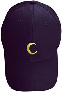 Embroidery Cotton Baseball Cap Sun Moon Unisex Snapback Hip Hop Flat Hat (Moon-Black)