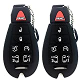 Ezzy Auto Pack 2 Black Silicone Rubber Key Fob Case Key Covers Key Jacket Skin Protectors fit for Dodge Ram