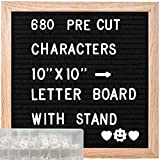 ABELL Felt Letter Board Include 680 Pre-Cut Letters, 10x10 Inches Message Changeable Board...