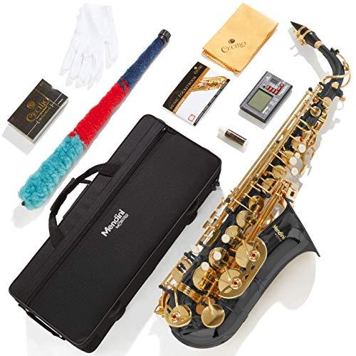 Mendini By Cecilio Eb Alto Saxophone - Instrument Case, Tuner, Mouthpiece, 10 Reeds, Pocketbook, Cloth & Gloves- MAS-BK Black E Flat Sax (Saxofon Alto)