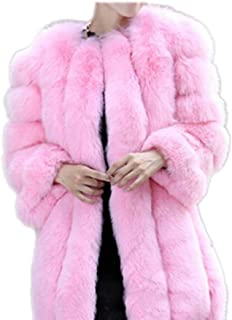 DJBM Womens Faux Fur Coat Parka Jacket Long Trench Winter Warm Thick Outerwear Overcoat