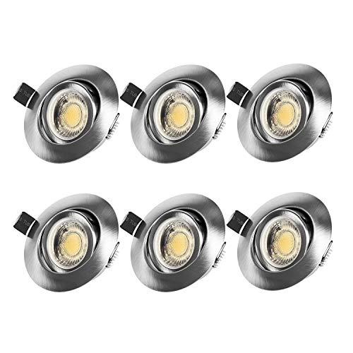 LED Einbaustrahler Flach 230V, 7W IP44 Schwenkbar Einbauleuchte LED Spots Deckenspot Warmweiß mit 3 Helligkeitsstufe, Deckeneinbaustrahler für Bad, Wohnzimmer, Schlafzimmer, Esszimmer, Küche 6er Set