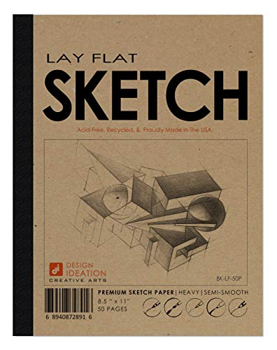 Design Ideation LAY FLAT Premium Paper Sketchbook. Removable sheet pad for Pencil, Ink, Marker, Charcoal and Watercolor Paints. Great for Art, Design and Education. (50 Pages (8.5' x 11'))