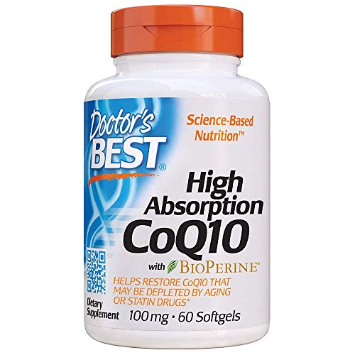 Doctor's Best High Absorption CoQ10 with BioPerine, Gluten Free, Naturally Fermented, Heart Health & Energy Production, 100 mg, 60 SoFtgels