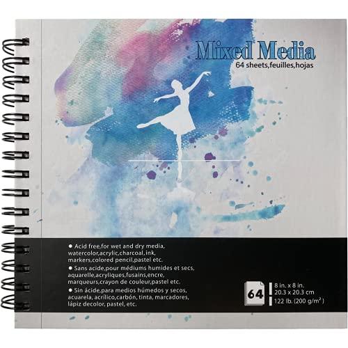 Tumuarta - Cuaderno de bocetos cuadrado mixto, 20 x 20 cm, 120 libras, 200 g/m², 64 hojas de 128 páginas, encuadernado duro, bloc de papel mixto para uso como rotulador, cuaderno...