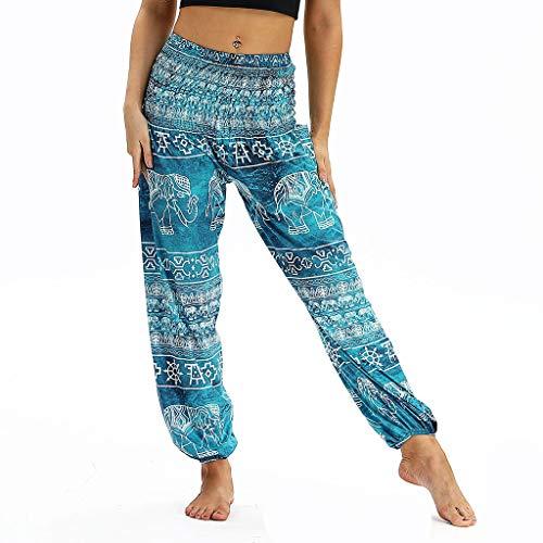 Xmiral Yoga Hosen Damen Lose Sporthose Elastische Taille Gedruckte Sweatpants Strandhosen Freizeithosen Training Hose(Blau 3,One Size)