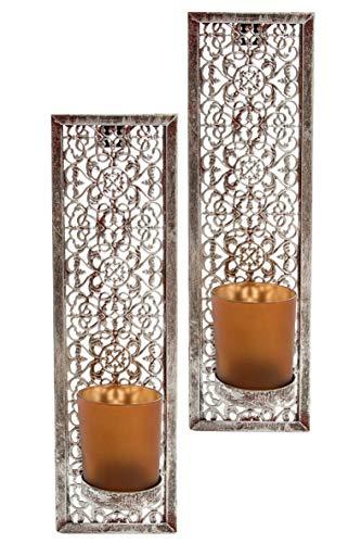 elbmöbel Wandkerzenhalter 2 er Set Metall Teelichthalter Ornamente (rechteckig, 30x9x10)