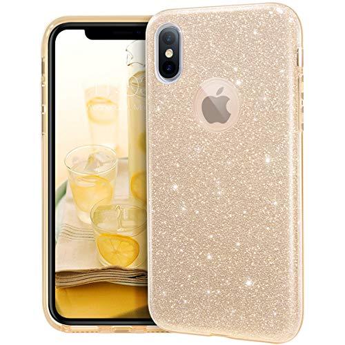 MATEPROX iPhone XS Hülle,iPhone X Hülle, Glitter Schutzhülle Glitzer Bling Handyhülle für 5,8 Zoll iPhone X/Xs-Gold
