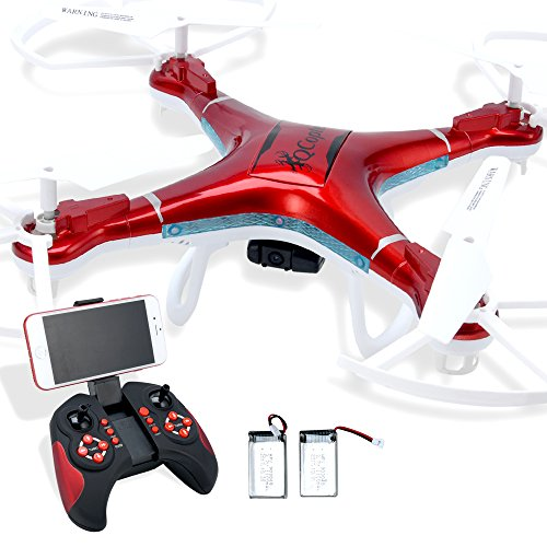 Quadcopter Drone with Camera Live Video, Drones FPV HD WiFi Camera with Remote Control, Free Extra Battery and Quadcopters Crash Replacement Kit with LED Lights, Easy Use for Beginners Kids RED