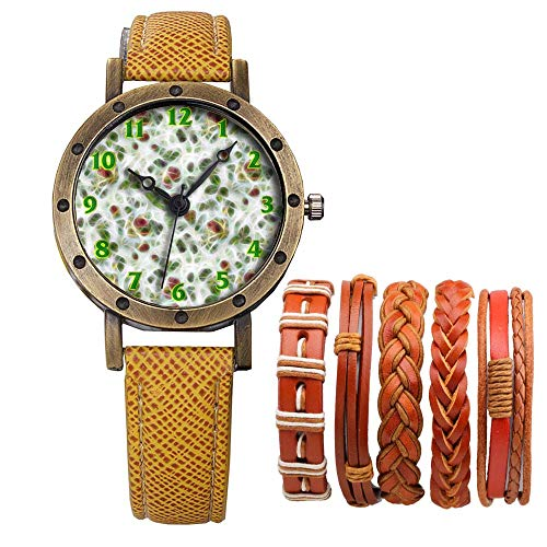Meisjes Merk Retro Brons Vintage Lederen Band Dames Meisje Quartz Horloge Armband 6 Sets Abstract Bloemen 486.Papier, Achtergrond, Oud, Multi Color, Art