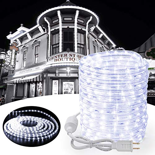 Toodour Christmas Rope Lights, 32.8ft 240 LED Tube Lights, Connectable Indoor Outdoor Clear Rope Christmas Lights for Garden, Patio, Bedroom, Party, Wedding, Christmas Decorations (White)