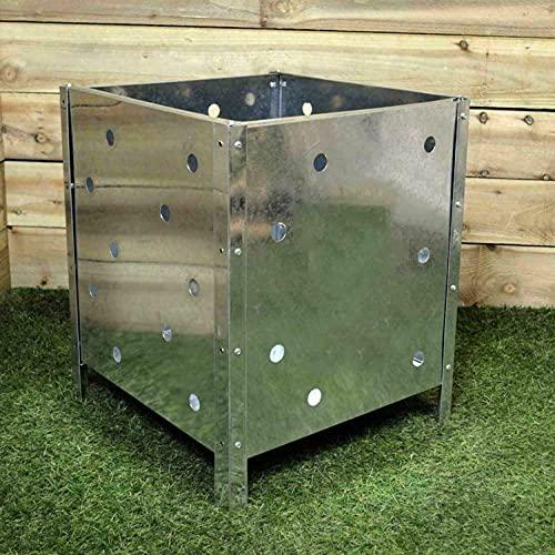 HoitoDeals Incinérateur de jardin carré en acier galvanisé 90 l pour brûler, poubelle, poubelle à déchets (1 pièce)