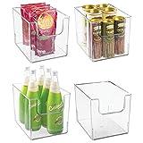 mDesign Plastic Open Front Food Storage Bin for Kitchen Cabinet, Pantry, Shelf, Fridge/Freezer - Organizer for Fruit, Potatoes, Onions, Drinks, Snacks, Pasta - 8' Wide, 4 Pack - Clear