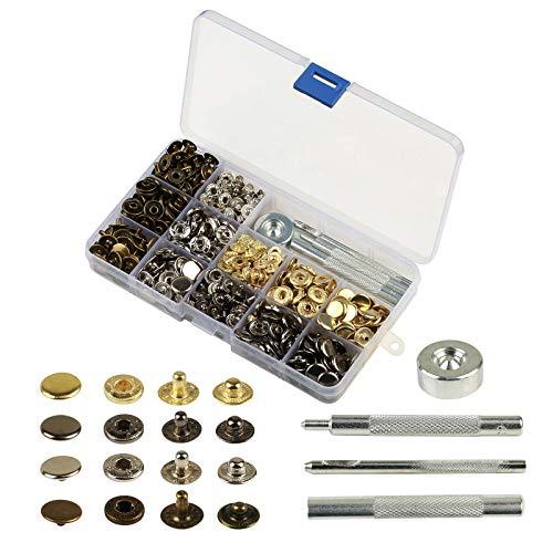 KAKOO 160 Set Metall Druckknöpfe, Metallknöpfe Snaps Button Knöpfe 12.5MM Schnappverschluss mit...
