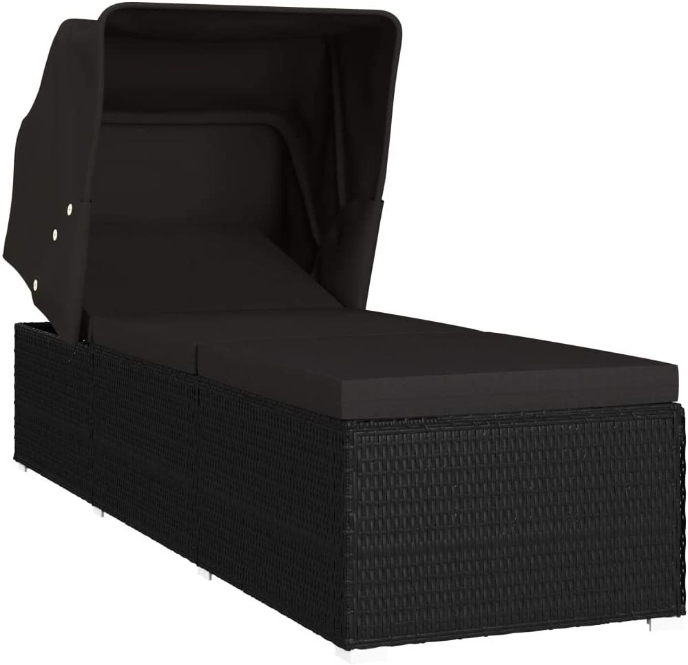 Al sold Max 47% OFF out. vidaXL Sun Lounger with Canopy Patio Outdoor Garden and Cushion