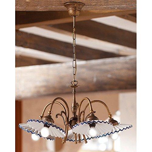 Lampe à Suspension 5 lumières en laiton et la plaque en céramique plissée vintage rétro – Ø 63 cm - Marrone