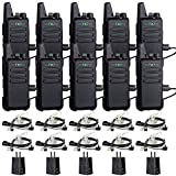 TIDRADIO TD-M8 Two Way Radios Walkie Talkies Rechargeable 16 CH VOX Walkie Talkies for Adults UHF 2 Way Radio with Earpiece 10 Pack