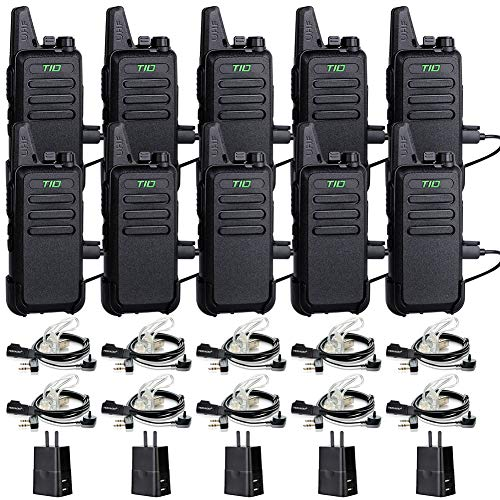 TIDRADIO TD-M8 Two Way Radios Walkie Talkies Rechargeable 16 CH VOX Walkie Talkies for Adults 2 Way Radio with Earpiece 10 Pack
