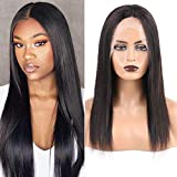 Huarisi Natural Human Hair Wigs Middle Part Wig Straight Lace Front t Part 18 Inches Brazilian Hair Wigs for Women Glueless Half Wig Real Hair No Fringe Natural Colour