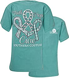 Southern Couture Comfort Faith Hope Cure Womens Inspirational T-Shirt - Seafoam