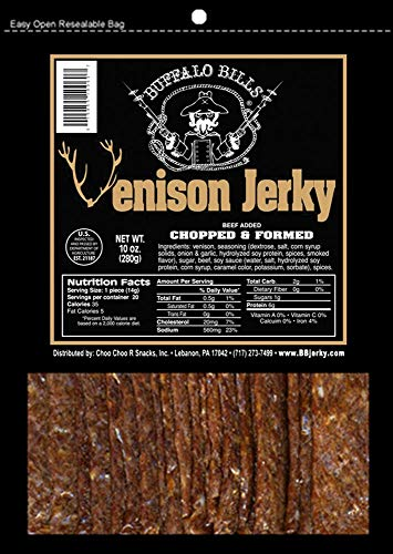Buffalo Bills Venison Jerky Strips 10oz Pack (20 venison jerky 7' strips per bag)