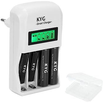 Caricabatterie per Pile Caricatore a Spina EU per Batterie Ricaricabili Universale AA/AAA Ni-Cd Ni-MH Stilo Ministilo 4 Slot Plug Charger Con Display LCD Ignifugo(Batterie non incluse)